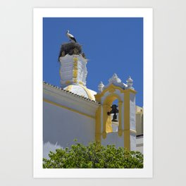 Stork and bell tower Art Print