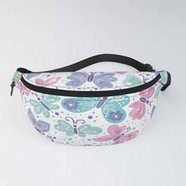 pink, teal and blue butterflies Fanny Pack