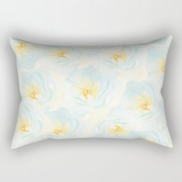 Watercolor hand painted pastel blue yellow floral pattern Rectangular Pillow
