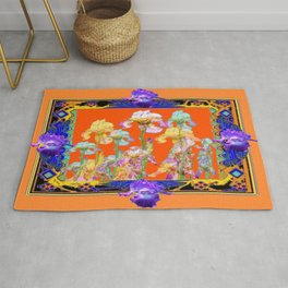 Ornate Cumin Color Purple Iris garden Design Rug