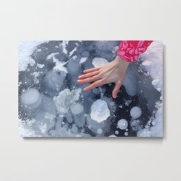 Woman hand on Baikal ice texture. Metal Print