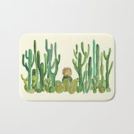 In my happy place - hedgehog meditating in cactus jungle Bath Mat