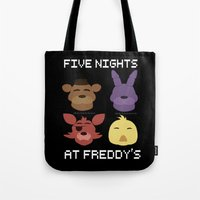 fnaf Tote Bags featuring The FNAF Gang by AjaSama