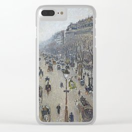 Camille Pissarro - Boulevard Montmartre - Morning, Grey Weather Clear iPhone Case