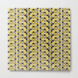 Yellow grey navy blue mustard spot seamless pattern #society6 #decor #buyart #artprint Metal Print