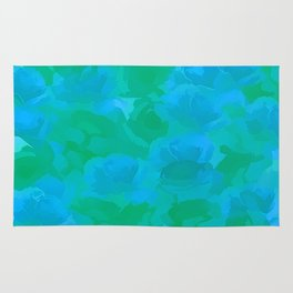Soft Rose Bouquet Abstract - Blue and Green Rug