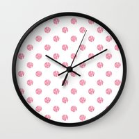 polka dot Wall Clocks featuring Polka Dot by Ryan Winters