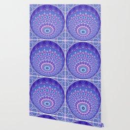 Indian Patterns Mandala Ball - Blue Pink White Wallpaper