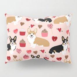 Corgi tricolored welsh corgis tan cupcakes valentines day love gifts for corgi dog lover Pillow Sham