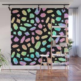 Rainbow Crystal Pattern on Black Wall Mural