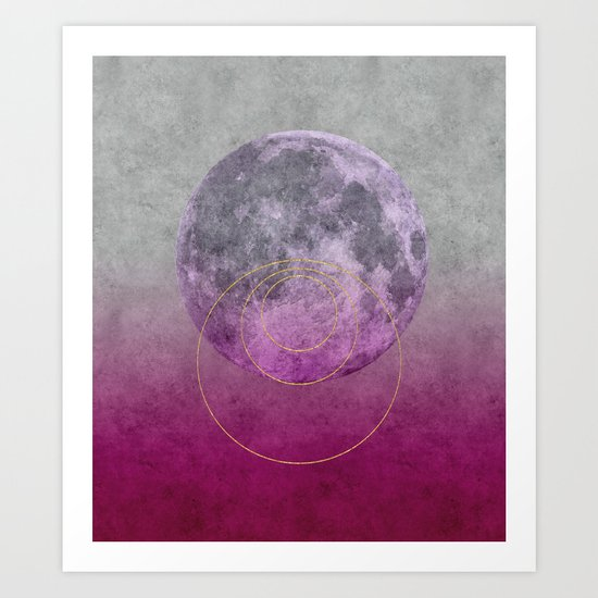 Pink Moon geometric circle mixed media Art Print
