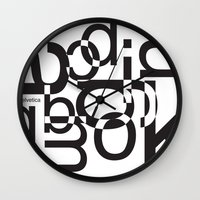helvetica Wall Clocks featuring helvetica 01 by Vin Zzep