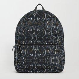 Silver Metallic Lace Goth Rococo Mandala Pattern Backpack