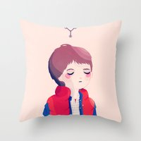 marty mcfly Throw Pillows featuring Marty by Nan Lawson