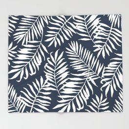 Tropical Palm Leaves - Navy Blue Throw Blanket