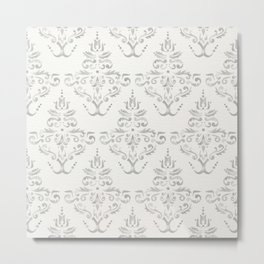 Hand Painted Watercolor Damask Pattern - Light Neutral Gray Metal Print