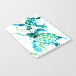 Sea Turtles, Turquoise blue Design Notebook