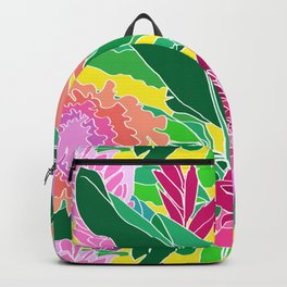 Bird of Paradise + Ginger Tropical Floral in Canary Yellow Backpack