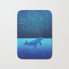 Whale Spouting Stars - Magical & Surreal Bath Mat