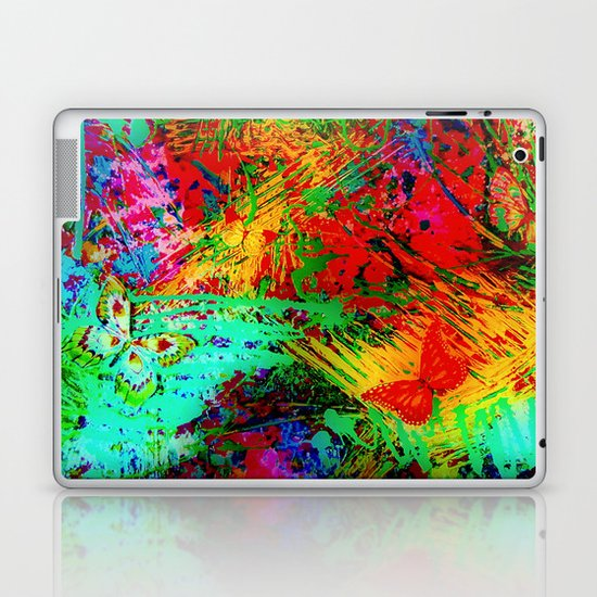 BUTTERFLY FEVER - Bold Rainbow Butterflies Fairy Garden Magical Bright Abstract Acrylic Painting Laptop & iPad Skin