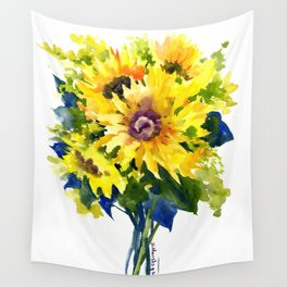 Colors of Summer, Sunflowers, Country style french country design Wall Tapestry