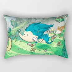 Starring Sonic and Miles 'Tails' Prower (Blue Version) Rectangular Pillow