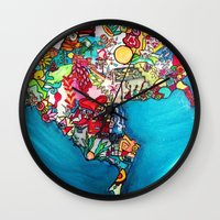 colombia Wall Clocks featuring Colombia Verde by MikAnsart