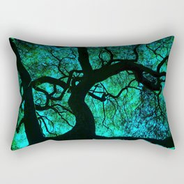 Under The Tree Blue and Green Rectangular Pillow