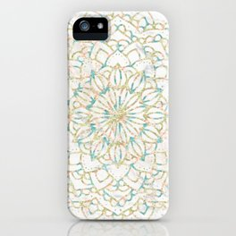 Marble Mandala Sea Shimmer Gold + Turquoise iPhone Case