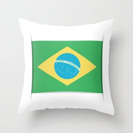 Flag of Brazil. The slit in the paper with shadows. Throw Pillow