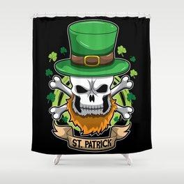 St. Patrick - Irish Skull - St. Patrick's Day Shower Curtain