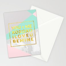 Geometric with love text Stationery Cards