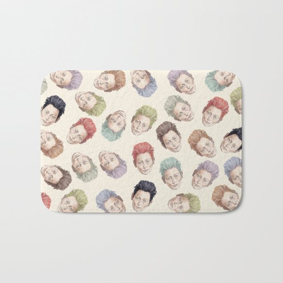 Tilda Heads on Cream | Hair Pattern Bath Mat