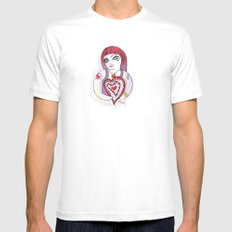 --->Strawberry_POP_Love! MEDIUM Mens Fitted Tee White
