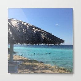 Aruba Palapa Metal Print