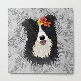 Happy Border Collie with Flowers Metal Print