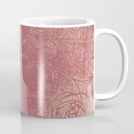 Light pink abstract design vintage velvet look with flowers Coffee Mug