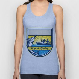Kayak Fishing Blue Marlin Badge Unisex Tank Top