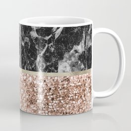 Warm chromatic - rose gold and black marble Coffee Mug