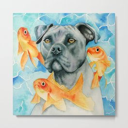 Guardian | Pit Bull Dog and Goldfishes Fantasy Watercolor Illustration Metal Print