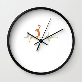 Vintage Heartbeat Volleyball Retro Gift Idea Wall Clock