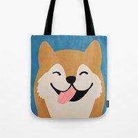shiba Tote Bags featuring Shiba Smile by Hello Hoku