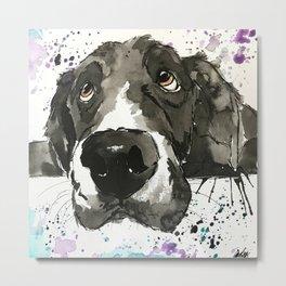 Black Labrador Retriever Painted Art Metal Print