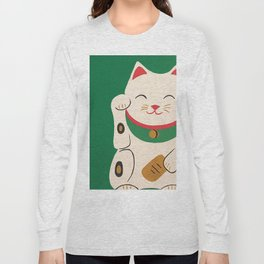 Green Lucky Cat Maneki Neko Long Sleeve T-shirt