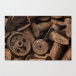 Cracked Wood Bobbins Canvas Print