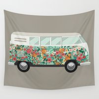 hippie Wall Tapestries featuring Hippie van by eARTh