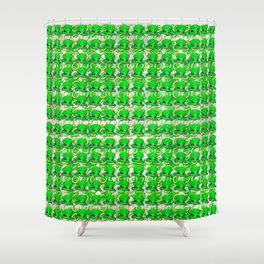 Four leaf clovers and gold horseshoes with green hat that are lucky for some Shower Curtain