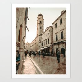 Rustic Cityscape | European Street Charming Dome Tower Muted Moody Fairytale City Photograph Art Print