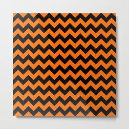 Large Dark Pumpkin Orange and Black Halloween Chevron Stripes Metal Print