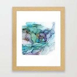 Aquamarine Teal Waves - Abstract Ink Framed Art Print